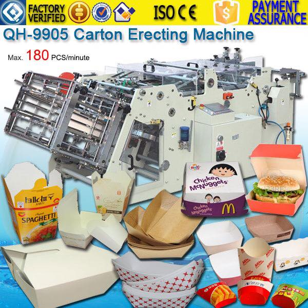 Canada Hamburger Box Carton erecting Machine QH-9905 Test