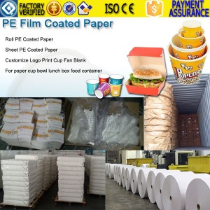 PE film coated paper for cup price cost