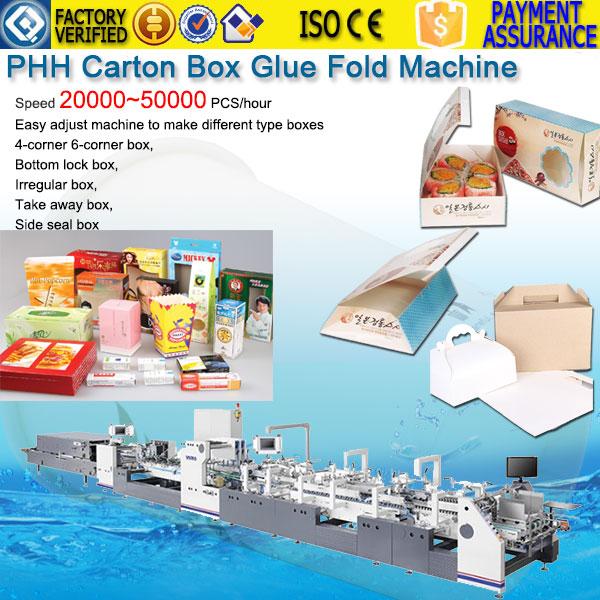 High speed 6 corner paper box glue fold machine PHH-1100