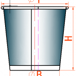 Paper Cup Drawing Design Dimension, Cup size limit