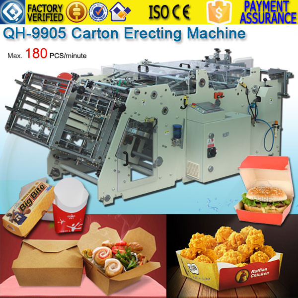 Hot Melt Take away box foodpail erecting machine QH-9905