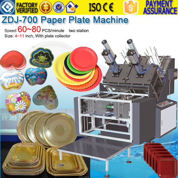 Paper plate tray dish forming machine with collector